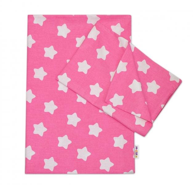 Baby Nellys Bavlněné povlečení  140 x 200/70x80 - Sweet Stars  - růžová