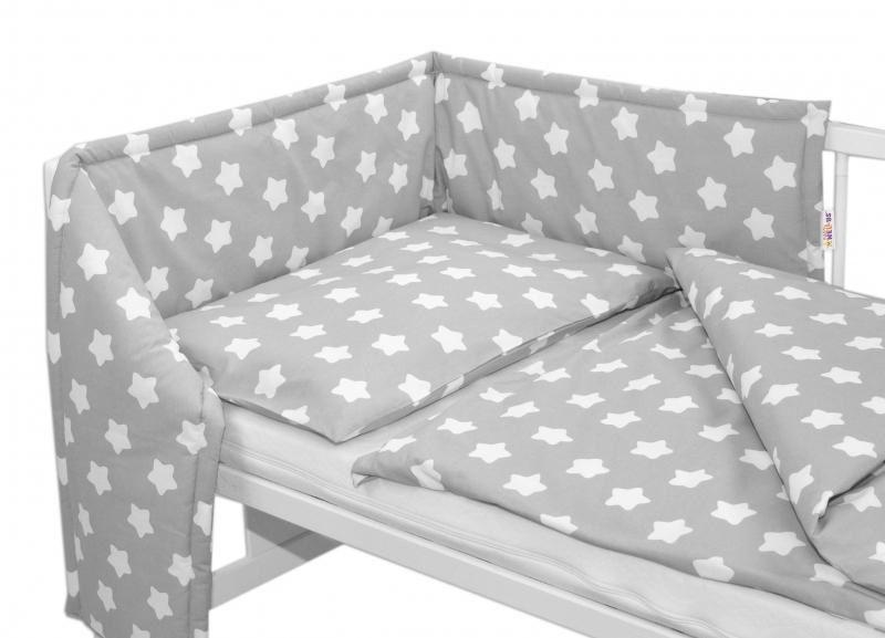 Mantinel s povlečením - Sweet Stars - šedá, 135x100