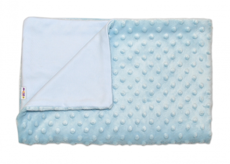 Baby Nellys Luxusní bavlněná dečka s minky 100x75cm - sv. modrá