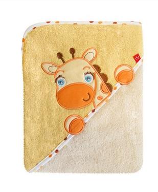 Dětská osuška s kapucí Žirafka - žlutá