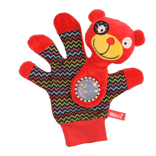 Edukační hračka maňásek s chrastítkem  - Medvídek - zrcátko - červený