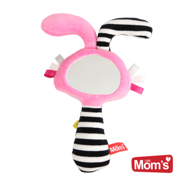 Edukační hračka Zrcátko s pískátkem - růžové