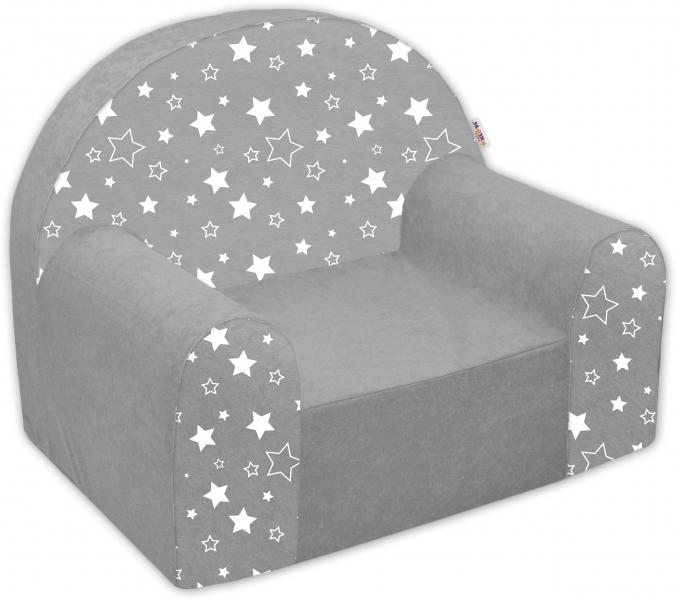 Dětské křesílko/pohovečka Nellys ® - Magic stars - bílošedé hvězdičky