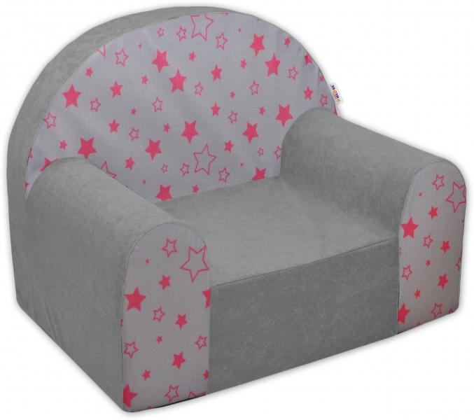 Dětské křesílko/pohovečka Nellys ® - Magic stars - šedé/růžové hvězdy