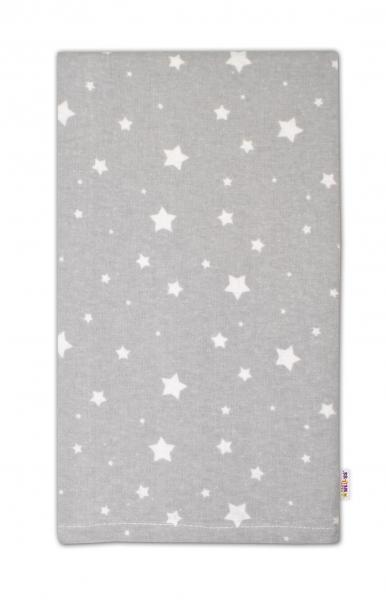 Flanelová plenka - Mini hvězdičky bílé v šedé
