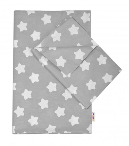 Baby Nellys Bavlněné povlečení  140 x 200/70x90 - Sweet Stars  - šedá