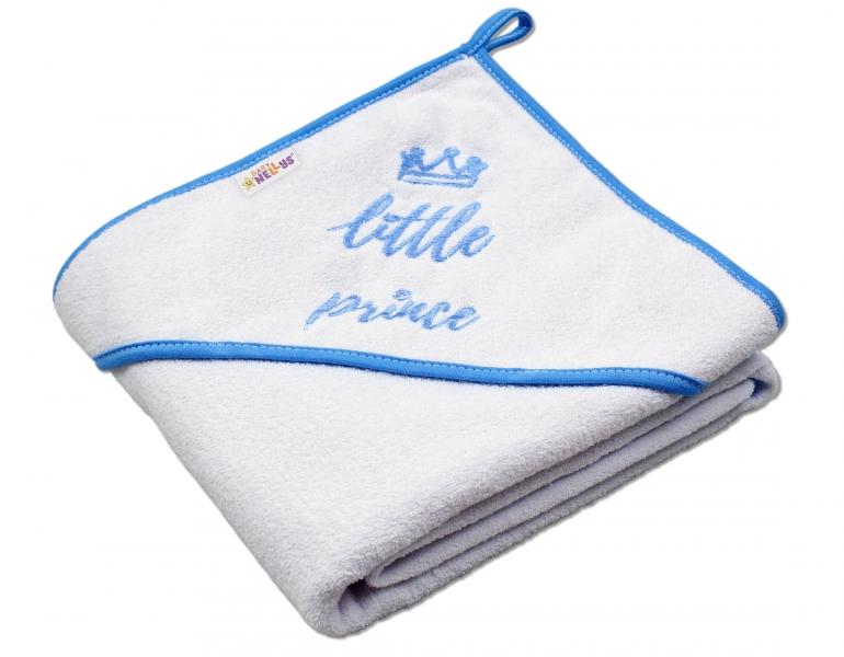 Dětská termoosuška Little prince s kapucí, 80 x 80 cm - bílá,modrý lem