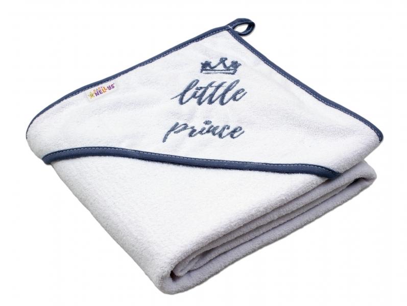 Baby Nellys Dětská termoosuška Little prince s kapucí, 80 x 80 cm - bílá, šedá výšivka