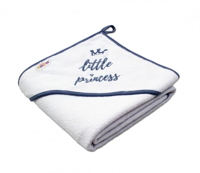 Baby Nellys Dětská termoosuška Little princess s kapucí, 80 x 80 cm - bílá, šedá výšivka