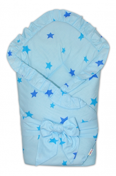 Baby Nellys  Rychlozavinovačka 80x80cm s volánkem a stuhou - Baby stars - modrá, K19