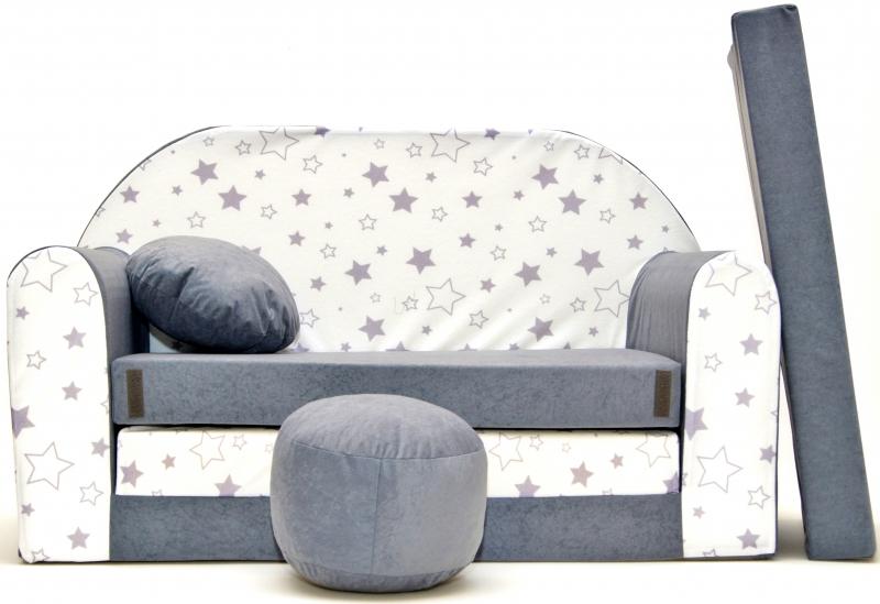 Rozkládací dětská pohovka Nellys ® 84R - Magic stars - šedé/bílé