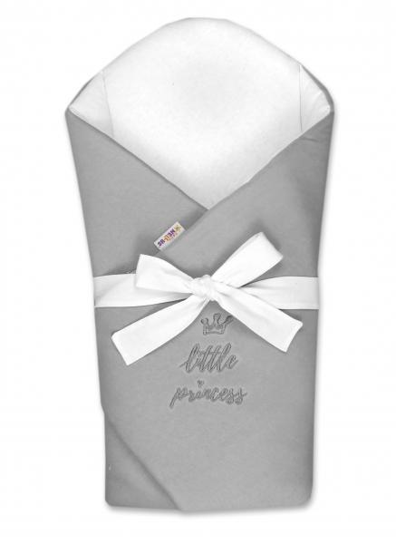 Baby Nellys Novorozenecká zavinovačka s výztuží zad Little Princess - šedá