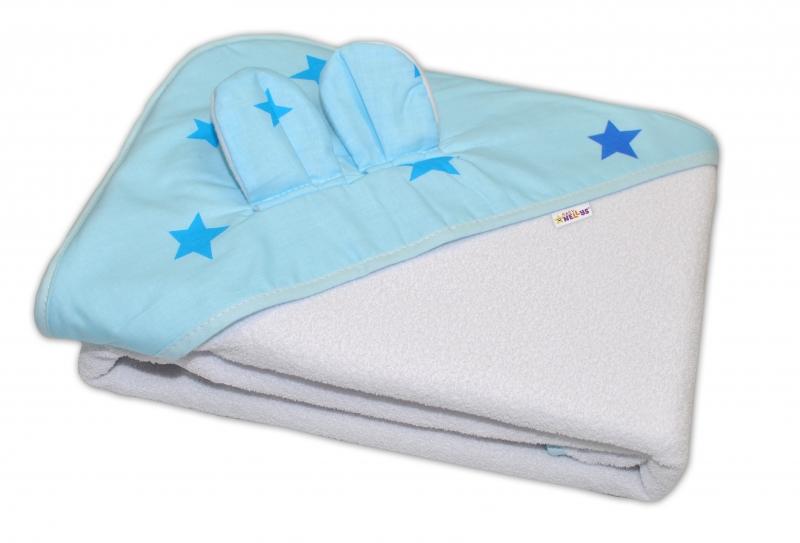 Dětská termoosuška s oušky Baby Stars s kapucí, 100 x 100 cm - bílá, modré hvězdy