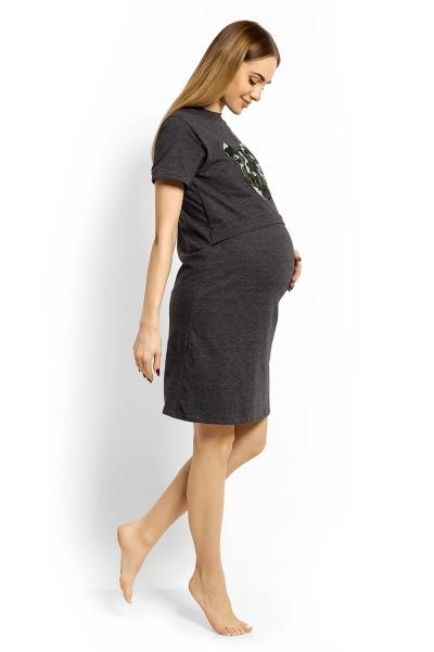 Be MaaMaa Těhotenská, kojící noční košile Minnie, XXL - grafit