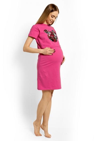 Be MaaMaa Těhotenská, kojící noční košile Minnie, L/XL - růžová