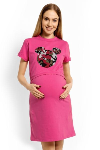 Be MaaMaa Těhotenská, kojící noční košile Minnie, XXL - růžová
