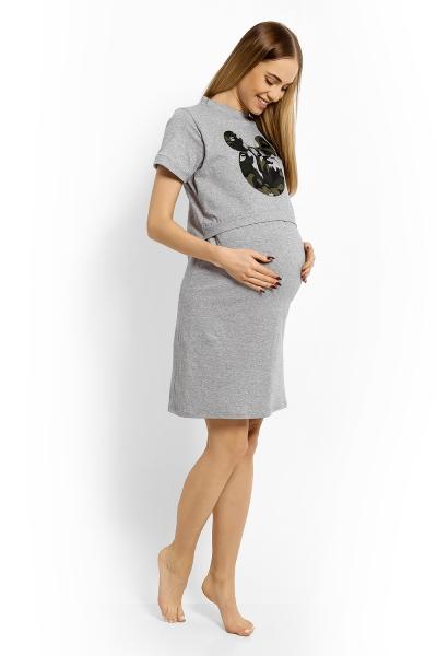 Be MaaMaa Těhotenská, kojící noční košile Minnie - sv. šedá