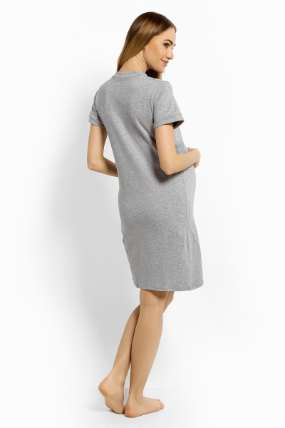 Be MaaMaa Těhotenská, kojící noční košile Minnie, L/XL - sv. šedá