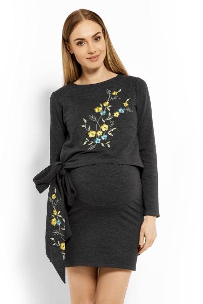 Be MaaMaa Elegantní těhotenské šaty, tunika s výšivkou a stuhou - grafit (kojící)