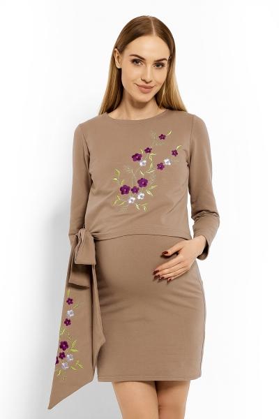 Be MaaMaa Elegantní těhotenské šaty, tunika s výšivkou a stuhou - cappuccino (kojící)