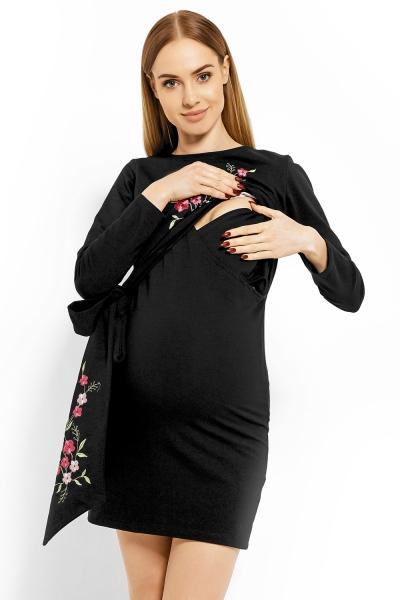 Be MaaMaa Elegantní těhotenské šaty, tunika s výšivkou a stuhou - černé (kojící)