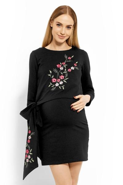 Elegantní těhotenské šaty, tunika s výšivkou a stuhou - černé, XXL (kojící), Velikost: L/XL