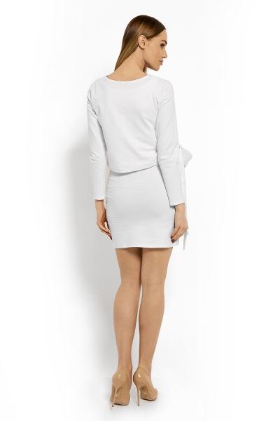 Be MaaMaa Elegantní těhotenské šaty, tunika s výšivkou a stuhou - bílé (kojící)