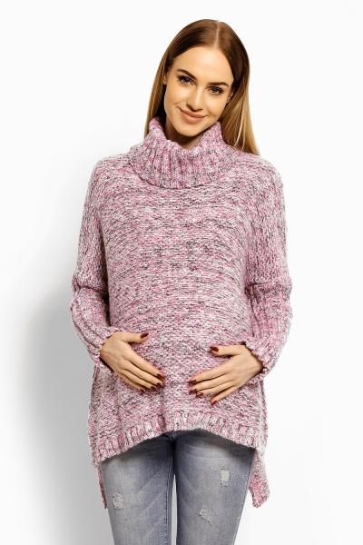 Volný vlněný těhotenský, kojící svetřík, pončo - růžový, šedý melír