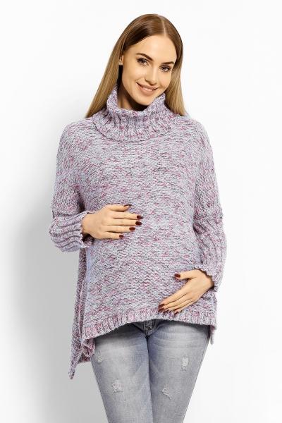 Volný vlněný těhotenský, kojící svetřík, pončo  - šedý, barevný melír s nádechem modré