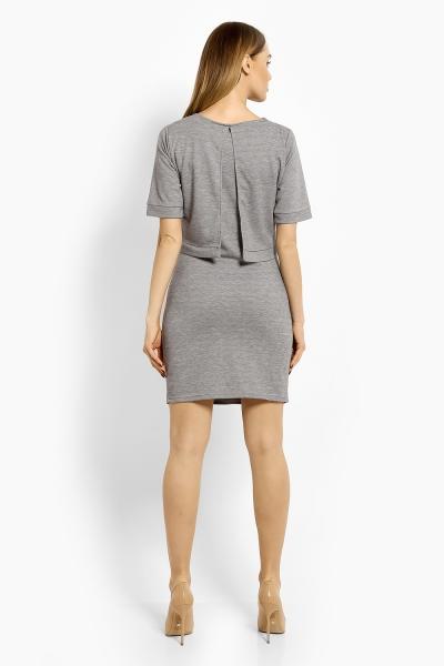 Be MaaMaa Elegantní těhotenské šaty, tunika s výšivkou, kr. rukáv, XXL - šedé (kojící)