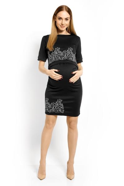 Elegantní těhotenské šaty, tunika s výšivkou, kr. rukáv, L/XL - grafit,šedá nitka (kojící)