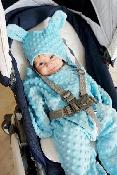 Baby Nellys Fusák, spacáček, kombinézka do autosedačky nebo kočárku Ouškou s minky - bílý