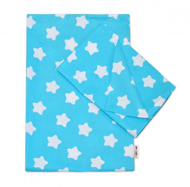 Baby Nellys Bavlněné povlečení 140 x 200/70x90 - Sweet Stars - tyrkysová