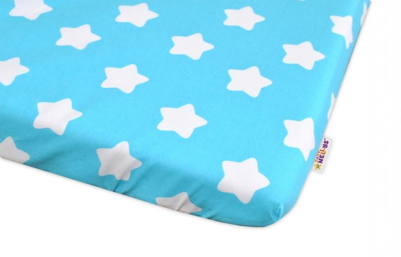 Bavlněné prostěradlo 60x120cm  Sweet Stars - tyrkysové