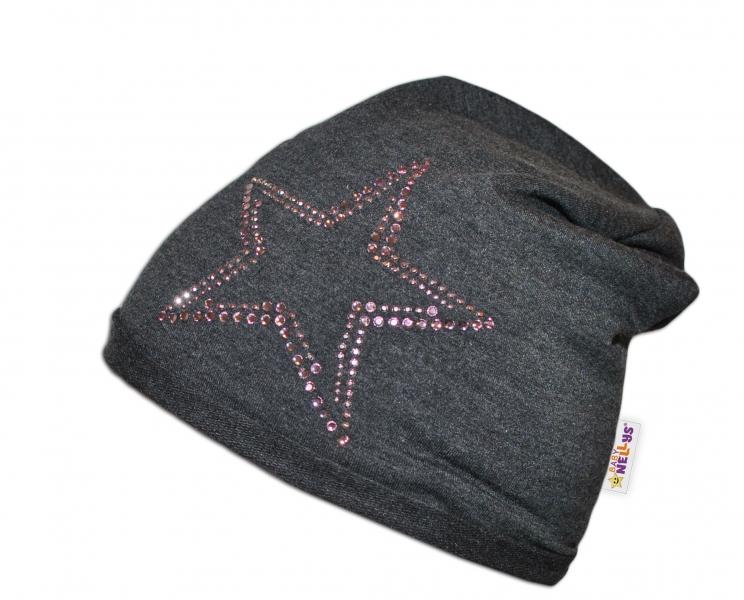 Bavlněná čepička Baby Nellys ® - Hvězdička/růžový lem