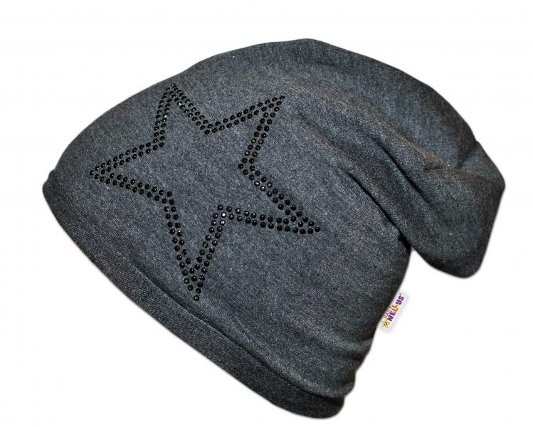 Bavlněná čepička Baby Nellys ® - Hvězdička/černý lem