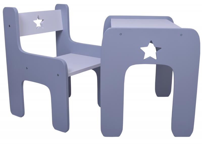 Sada nábytku Star - Stůl + židle - šedá s bílou