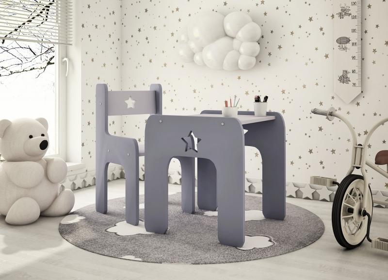 Sada nábytku Star - Stůl + židle - šedá s bílou, D19