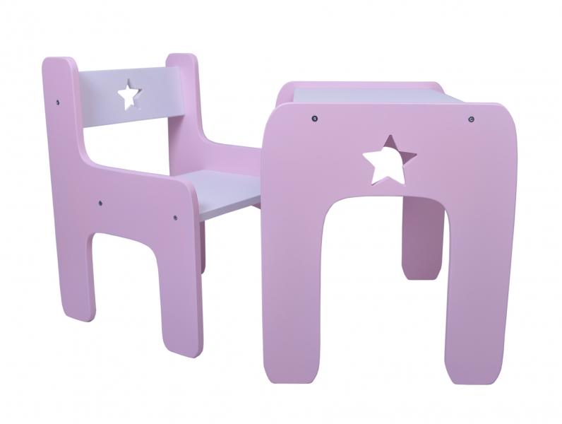 Sada nábytku Star - Stůl + židle - růžová s bílou