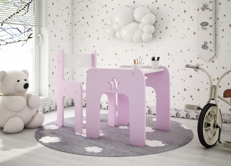 NELLYS Sada nábytku Star - Stůl + židle - růžová s bílou, D19