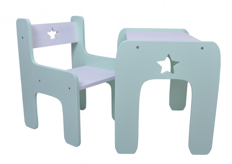 NELLYS Sada nábytku Star - Stůl + židle - máta s bílou, D19