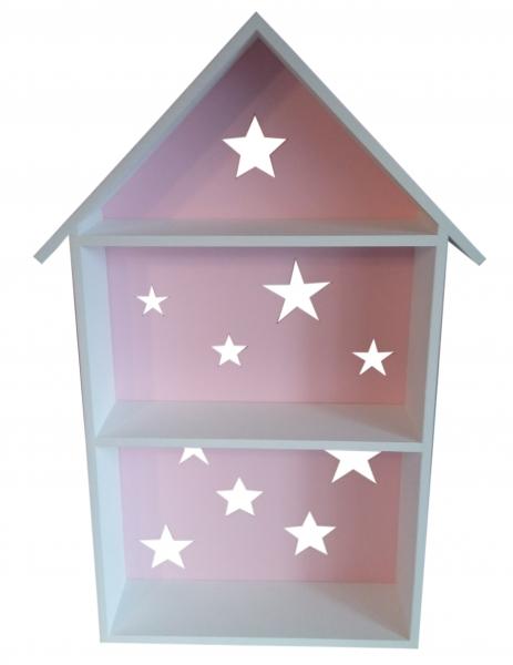 Polička na stěnu Star - domeček bílý s růžovou