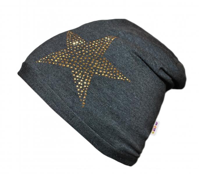 Bavlněná čepička Baby Nellys ® - Hvězdička zlatá