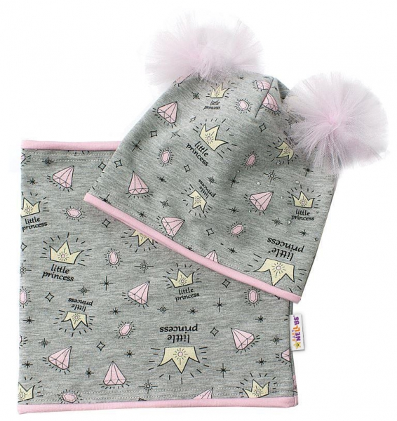 Baby Nellys Bavlněná sada čepička s tutu a nákrčník Princes - šedá, růžová