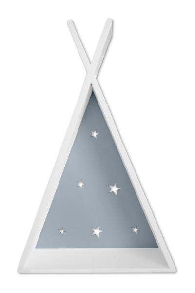 NELLYS Polička na stěnu Star - týpí bílý s šedou, D19