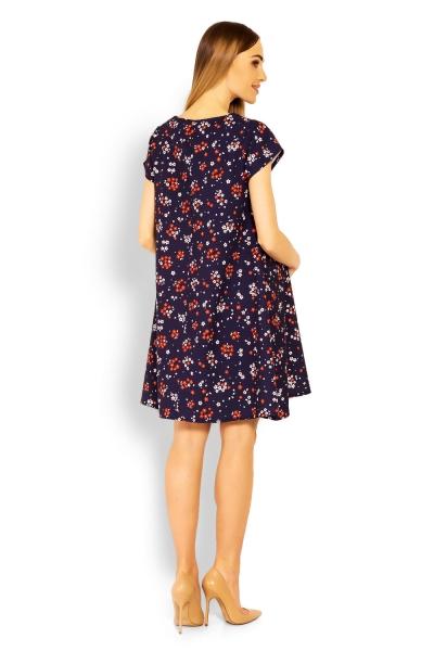 Be MaaMaa Elegantní volné těhotenské šaty, tunika, kr. rukáv - printy květinky, vel. L/XL