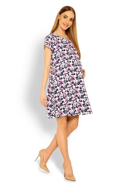 Be MaaMaa Elegantní volné těhotenské šaty, tunika, kr. rukáv - cleo