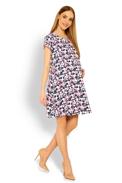 Be MaaMaa Elegantní volné těhotenské šaty, tunika, kr. rukáv - cleo, L/XL