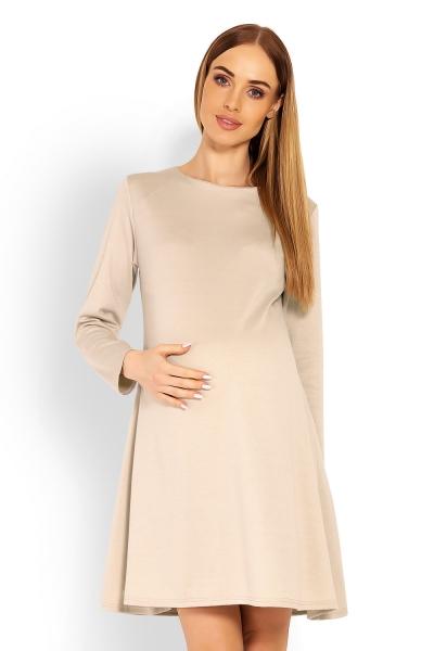 Elegantní volné těhotenské šaty dl. rukáv - béžové, L/XL, Velikost: L/XL