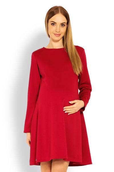 Elegantní volné těhotenské šaty dl. rukáv - bordo,červené, XXL